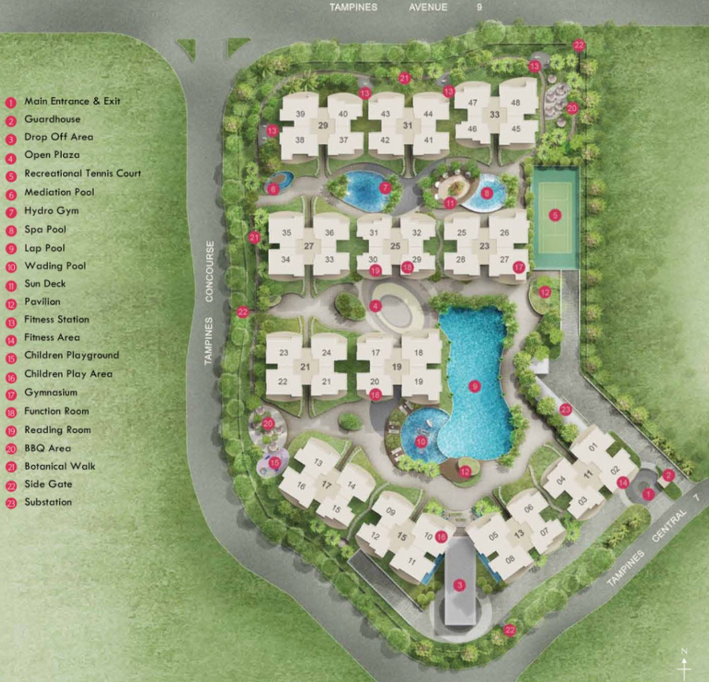 The Tampines Trilliant Site Plan & Facilities