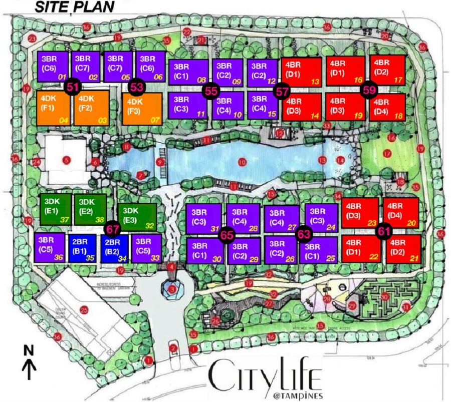 Citylife At Tampines EC Site Plan with Room Type